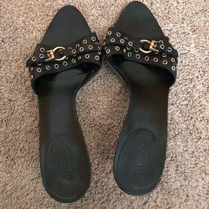 Gucci Black Studded Heels Medium Width Size 7.5